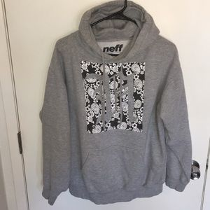 White Floral on Black, Gray Neff Skate Hoodie